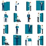 Flat Datacenter Icons Set Stock Image