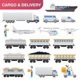 Flat delivery and logistics transport icon set Royalty Free Stock Images