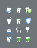 Flat dental icons vector set Stock Image