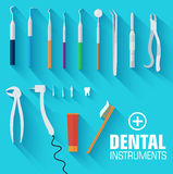 Flat dental instruments set design concept Stock Photos