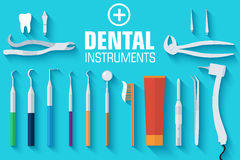 Flat dental instruments set design concept Stock Images