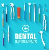 Flat dental instruments set design concept. Background. Vector illustration Royalty Free Stock Images