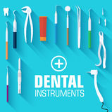 Flat dental instruments set design concept Royalty Free Stock Images