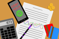Flat design above view of a desktop showing a financial report. With a graph under two credit cards and a calculator with a smart phone showing a link to debt Royalty Free Stock Images