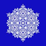 Flat design with abstract white snowflakes isolated on blue background. Vector Snowflakes mandala stock illustration