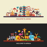 Flat design Africa, Japan travel banners set Royalty Free Stock Photos