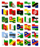 Flat Design African Waving Flags Royalty Free Stock Image