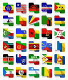 Flat Design African Waving Flags 2 Royalty Free Stock Photos