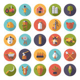 Flat Design Agriculture and Farming Round Icon Set Stock Photography