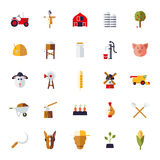 Flat Design Agriculture Icons Collection Stock Photo