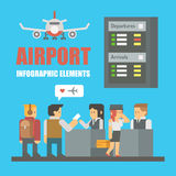 Flat design of airport infographic elements Stock Photography