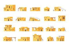 Flat design arab mud house set. Illustration vector Stock Photo