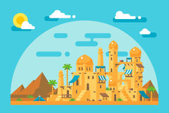 Flat design arab mud village. Illustration Royalty Free Stock Photo