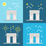 Flat design of Arc de Triomphe France Stock Image