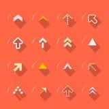 Flat Design Arrows Set Vector Illustration. On Red Background Stock Images