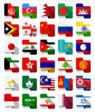 Flat Design Asian Waving Flags Royalty Free Stock Photography