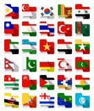 Flat Design Asian Waving Flags 2 Royalty Free Stock Photography