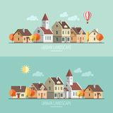 Flat design autumn cityscape. Royalty Free Stock Images