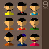 The Flat design avatar app icons set user face people man  . Vector Illustration Design Royalty Free Stock Images