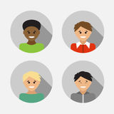 Flat design avatar set of multiracial people. Vector illustratio Royalty Free Stock Photography