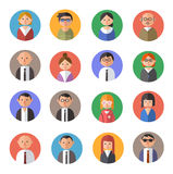 Flat design avatars. Set of 16 people avatars in flat / material design style Stock Photography