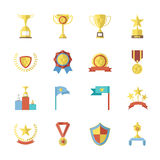 Flat Design Awards Symbols and Trophy Icons Set Isolated Vector Illustration Royalty Free Stock Photo