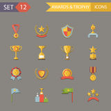 Flat Design Awards Symbols and Trophy Icons   Royalty Free Stock Photos
