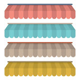 Flat Design Awning Set Vintage Style Stock Photography