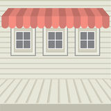 Flat Design Awning With Three Windows Stock Photo