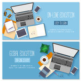 Flat design baners for online education Stock Photo