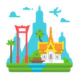 Flat design Bangkok landmarks Royalty Free Stock Photos