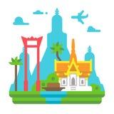 Flat design Bangkok landmarks Royalty Free Stock Photos