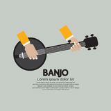 Flat Design Banjo Playing. vector illustration