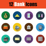 Flat design bank icon set. In ui colors. Vector illustration Stock Image