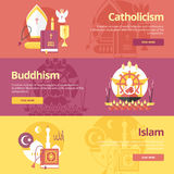 Flat design banner concepts for islam, buddhism, catholicism. Religion concepts for web banners. Royalty Free Stock Photography