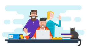 Flat design banner of creative team. For website and mobile website, easy to use and highly customizable. Modern vector illustration concept,  on white Royalty Free Stock Photos