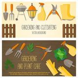 Flat design banner for gardening and plant care Stock Photo