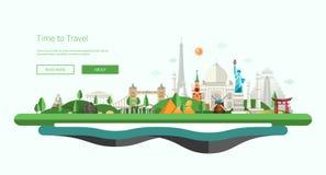 Flat design banner, header illustration with world famous landmarks Stock Photo