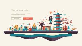 Flat design banner, header travel illustration with Asian famous symbols Stock Photo