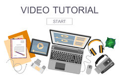 Flat design banner for  video edition. Top view of workplace with devices for video edit, tutorials and post production. Vector illustration.  Flat design Royalty Free Stock Photo