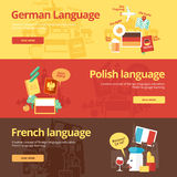 Flat design banners for german, polish, french. Royalty Free Stock Photos