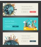 Flat design banners, headers set illustration with world famous landmarks Stock Photos