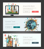 Flat design banners, headers set illustration with world famous landmarks Royalty Free Stock Image