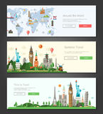 Flat design banners, headers set illustration with world famous landmarks Royalty Free Stock Photography