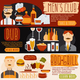 Flat design banners with men's club, and pub theme Stock Photography