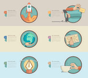 Flat design banners with set of flat concept icons for web design and business templates Stock Images