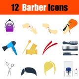 Flat design barber icon set Stock Photography