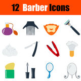 Flat design barber icon set Royalty Free Stock Photo