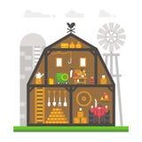 Flat design barn interior infographic Stock Image