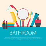 Flat design bathroom concept. Royalty Free Stock Photography
